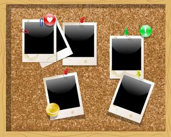 Corkboard with polaroid photos vector illustration - Free vector #131290