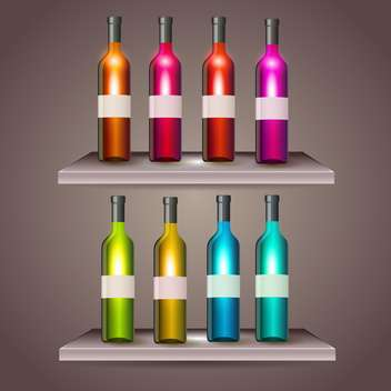 Set of color wine bottles with blank labels - vector #131350 gratis