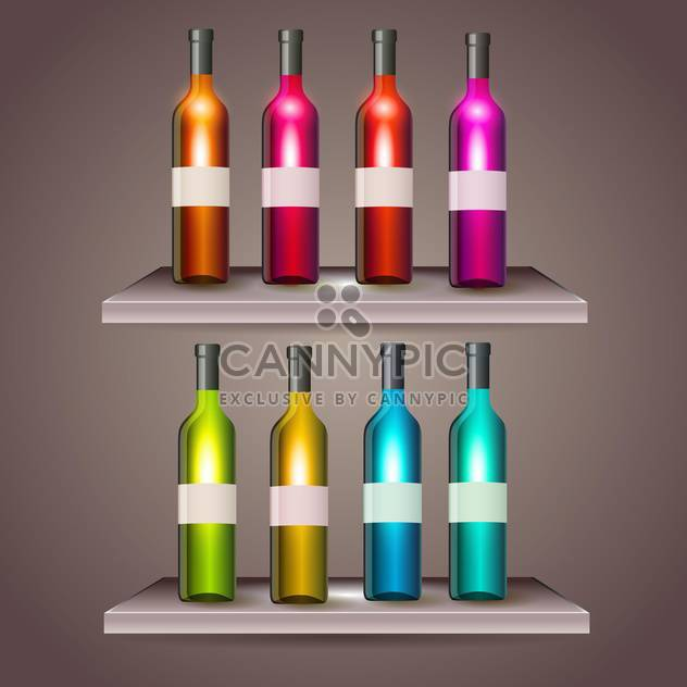 Set of color wine bottles with blank labels - Free vector #131350