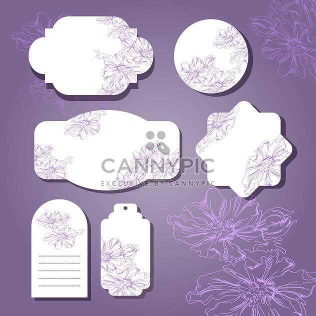 Sammlung von floral retro Grunge-Etiketten, Banner und Embleme - Free vector #131360