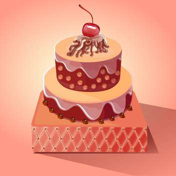 Cute and tasty birthday cake illustration - бесплатный vector #131470