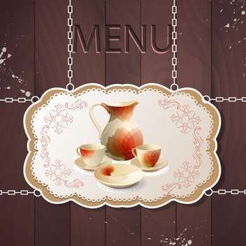 Restaurant menu with tea set with tea pot and cups - vector #131480 gratis