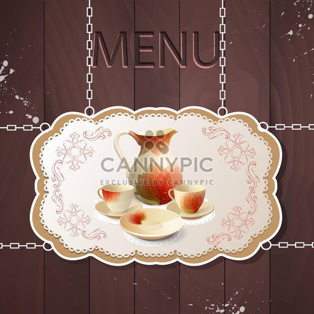 Restaurant menu with tea set with tea pot and cups - Free vector #131480