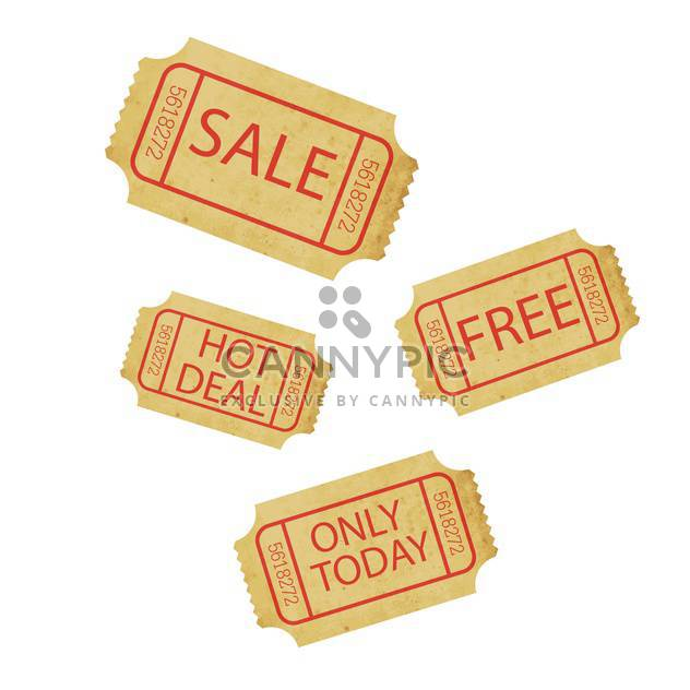 Sale tickets on white background - Free vector #131630