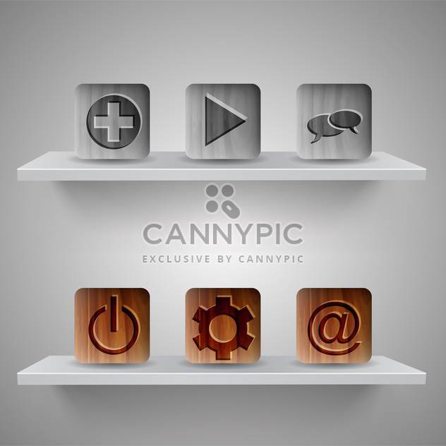Different web icons on shelves on grey background - Free vector #131730