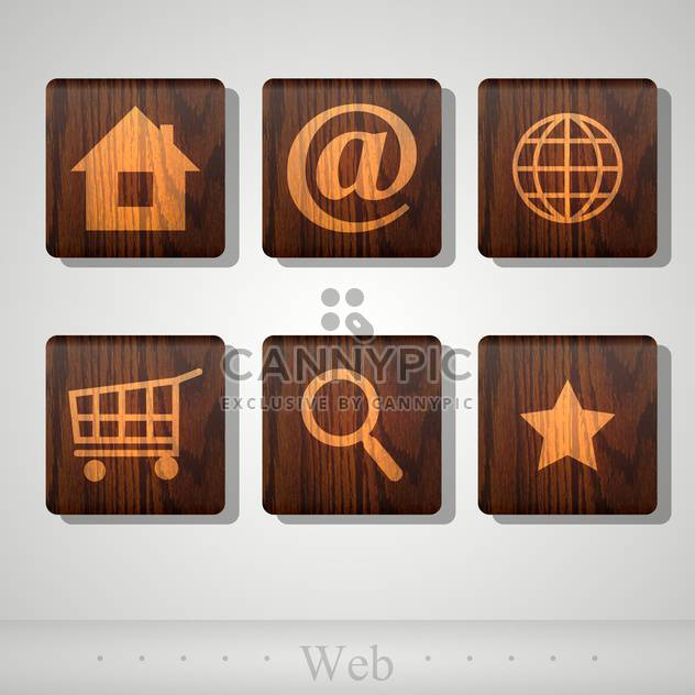 Vector set of web wooden icons - Free vector #131780