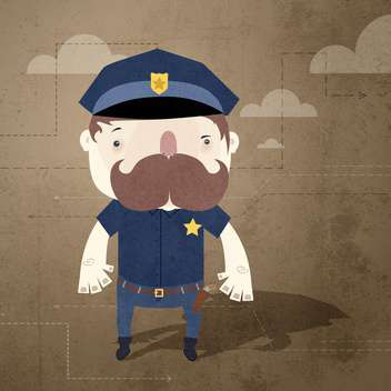 Vector grunge background with policeman - vector gratuit #131790