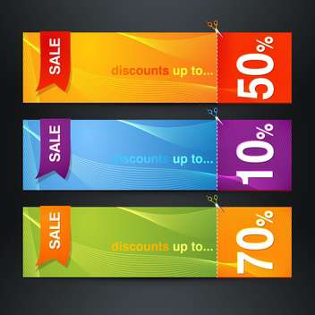 Discount labels on black background vector illustration - Free vector #131880
