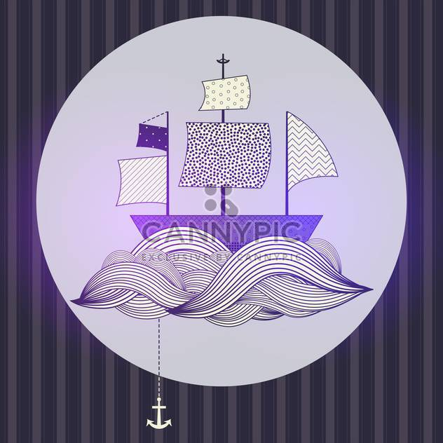 Stylish seascape with boat in striped vintage frame - Free vector #131940
