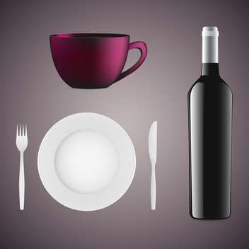 Bottle of wine, cup, plate and cutlery on grey background - vector gratuit #131950