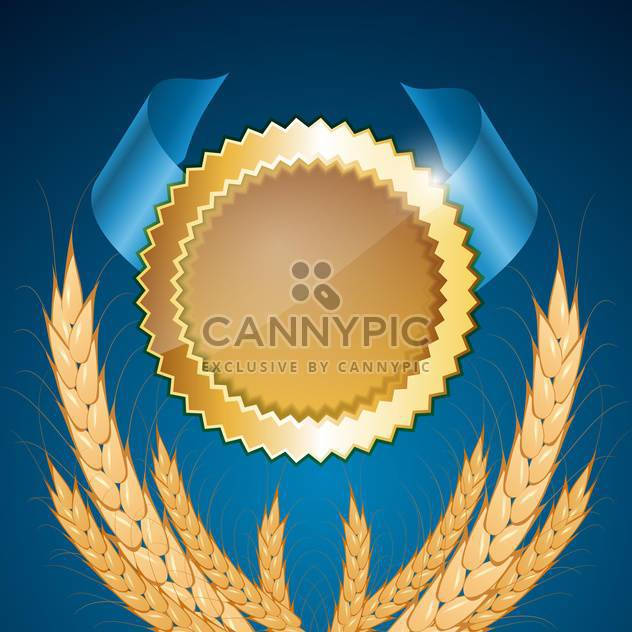 Vector golden medal with wheat on blue background - Free vector #132040
