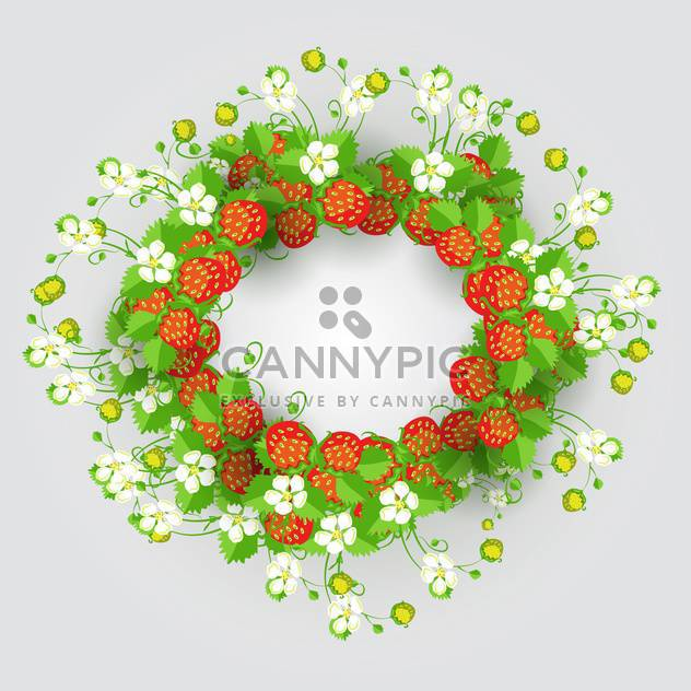 Vector strawberry wreath on grey background - Free vector #132150