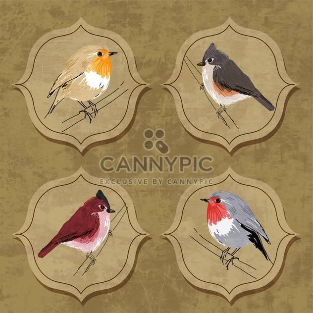 Vector illustration of little birds on grunge background - Free vector #132160