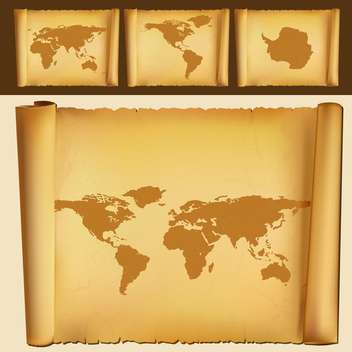 Set of old maps of the world,vector illustration - Free vector #132190