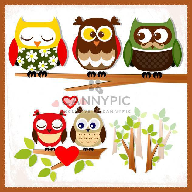 Set of five owls with various emotions on the branch,vector illustration - Free vector #132240