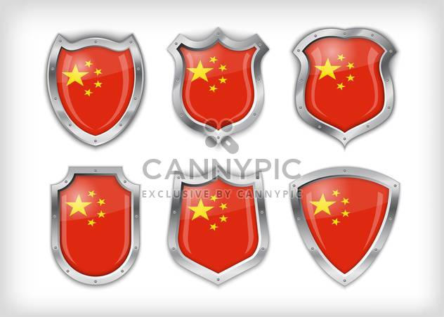 Different icons with flags of China,vector illustration - Free vector #132370