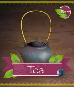 Teapot with tea and leaves on wooden background, vector illustration. - vector gratuit(e) #132420
