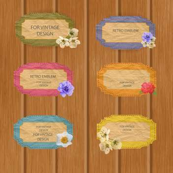 Vintage colorful frames with flowers on wooden background - Kostenloses vector #132450