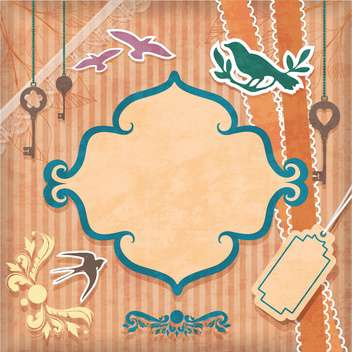 vintage frame background with birds - vector gratuit #132560