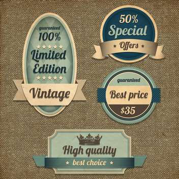 retro high quality design labels set - Free vector #132640