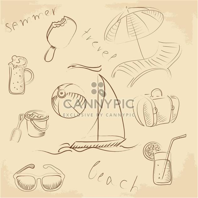 Sommer-Lounge doodles Satz - Free vector #132670