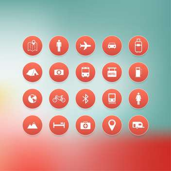 travel vacation icons set - vector #132690 gratis