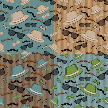 seamless backgrounds with hipster elements - vector gratuit #132740