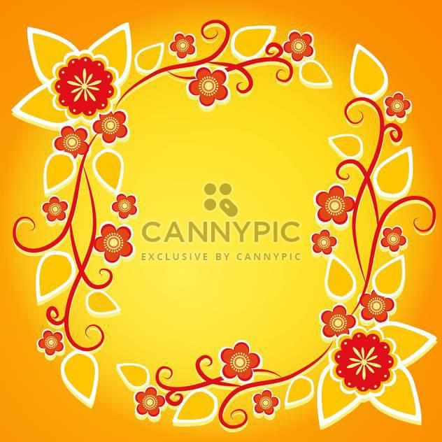 floral Frame auf orange Vektor Hintergrund - Kostenloses vector #132810