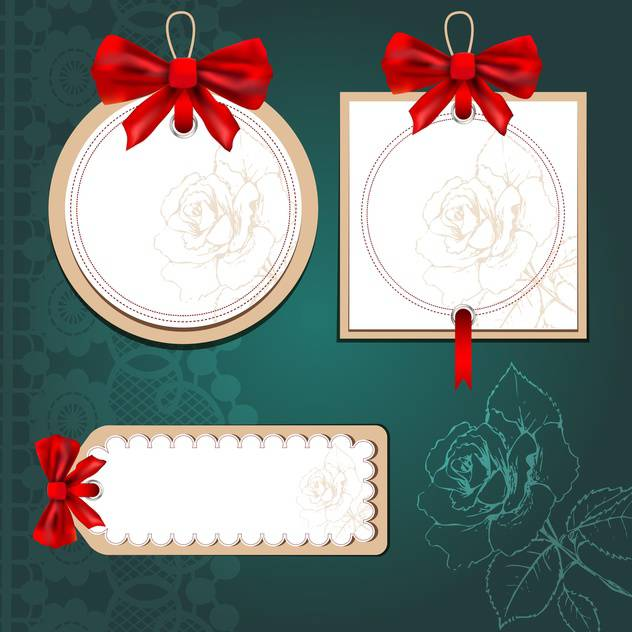set of cards with gift bows - Free vector #132940