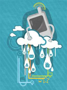 cartoon phone with social clouds background - vector #132950 gratis