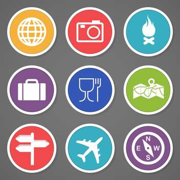 travel and tourism icons set - vector #132980 gratis