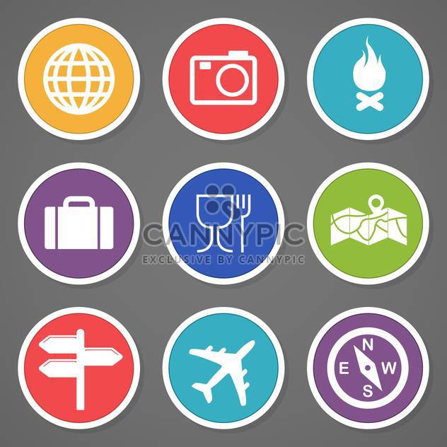 Reise- und Tourismus-Ikonen-Satz - Free vector #132980
