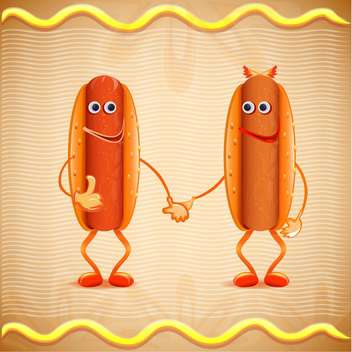 two cartoon vector hotdogs - vector #133060 gratis