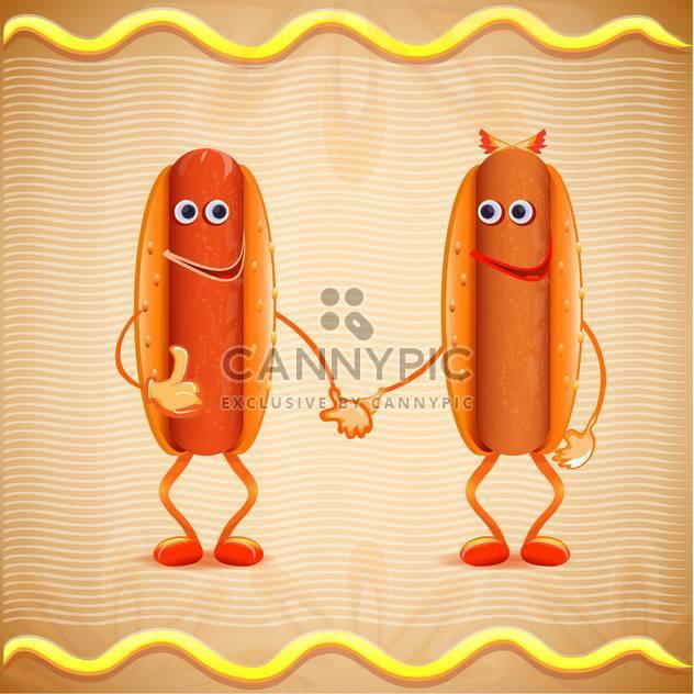 zwei Cartoon-Vektor-hotdogs - Kostenloses vector #133060