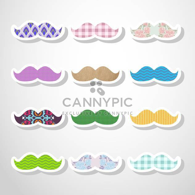 vector set of hipster mustache - Free vector #133280