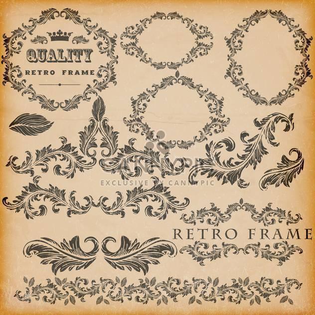 vector set of vintage frames background - Free vector #133470