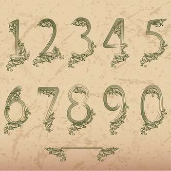 floral font vector numbers set - Free vector #133570