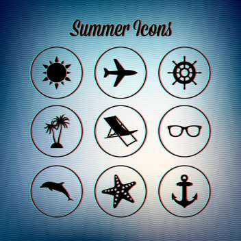 set of summer travel icons - vector gratuit #133750