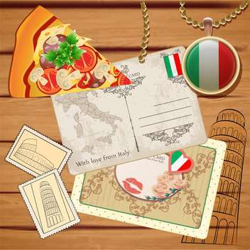 travel to italy postcards background - vector gratuit #133760