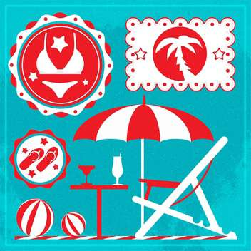 summer holiday icons set - vector gratuit #133860