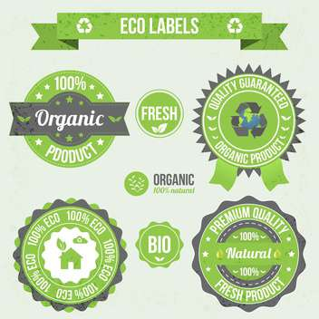eco labels in retro design style - vector gratuit #134030