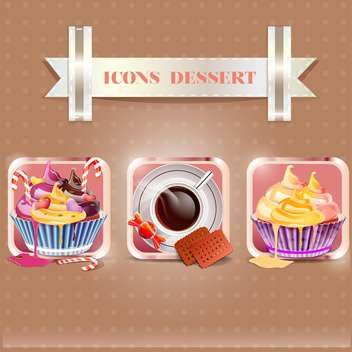 tasty dessert food icons set - vector gratuit #134140
