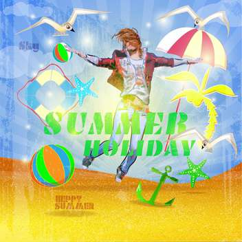 vintage summer holiday poster - vector #134170 gratis