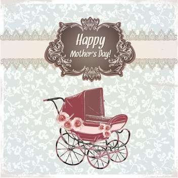 vintage happy mother's day card - vector gratuit #134190