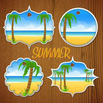 summer labels with palm trees - vector gratuit #134350