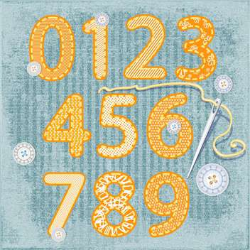 vintage sewing style numbers set - vector gratuit #134410