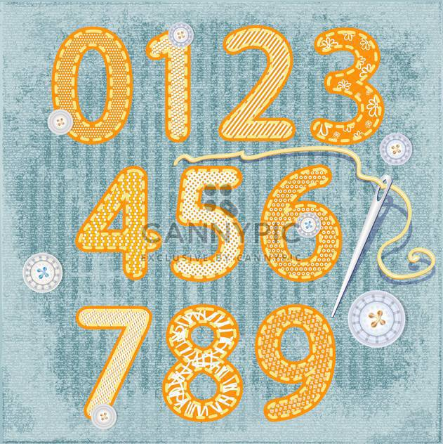vintage sewing style numbers set - Free vector #134410