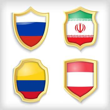 shield set background with countries flags - vector gratuit #134520