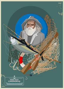 Old fisherman with fishing equipment - vector #134560 gratis
