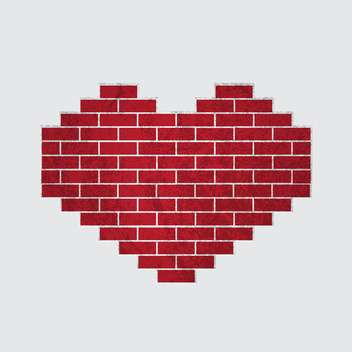 vector heart shaped brick wall background - vector gratuit(e) #134810